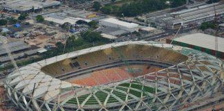 Arena da Amazônia com obras suspensas, parcialmente/Foto: UGP