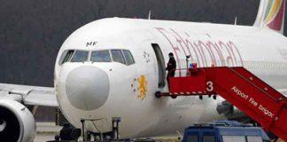 Avião etíope na pista, após tentativa de sequestro/Foto: denis Bolibonze